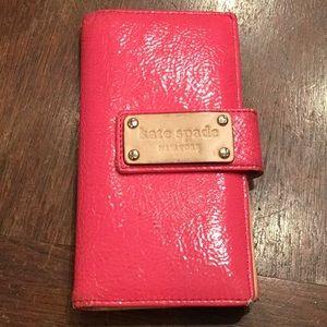 Kate Spade pink patent credit card holder/wallet